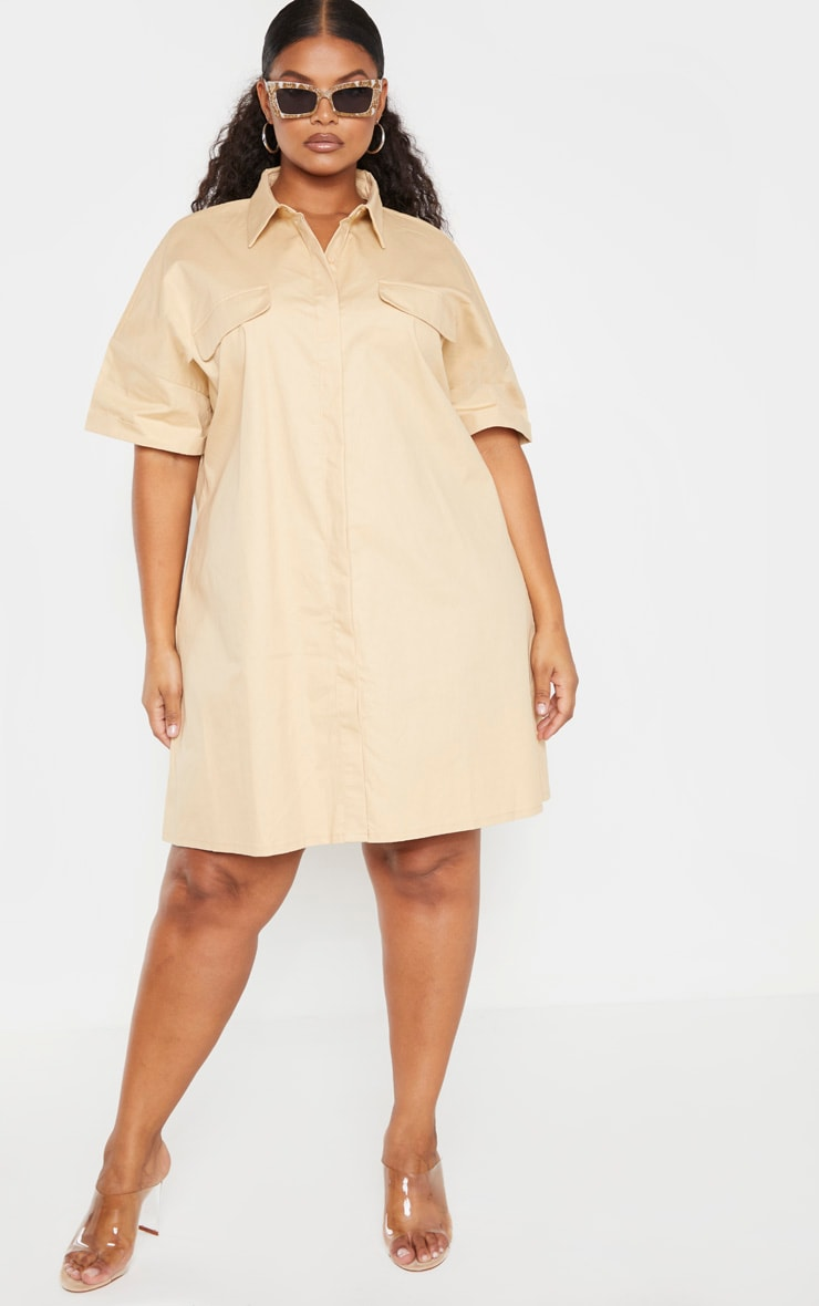 Plus Stone Oversized Utility Shirt Dress 4