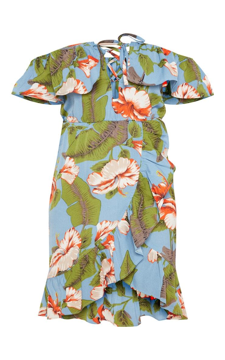 Blue Floral Print Lace Up Frill Hem Shift Dress 3
