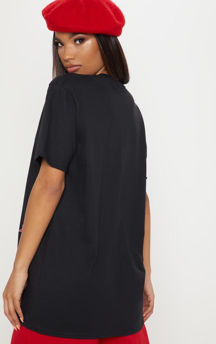 Black Disney Princess Ariel Print Oversized T-Shirt 2