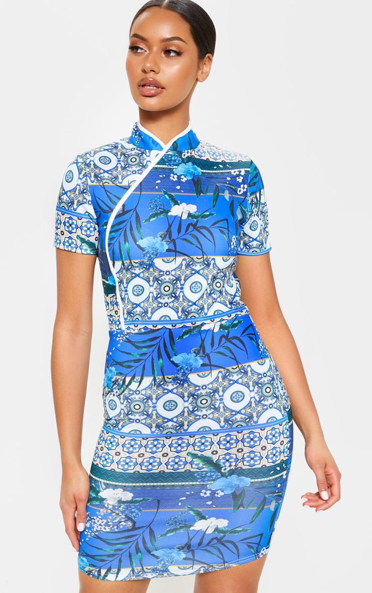 Blue Oriental Print Short Sleeve Bodycon Dress 1