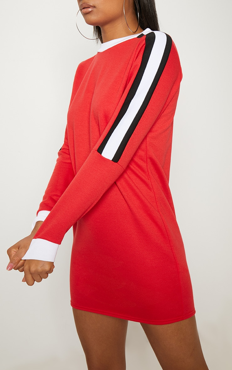 Red Sport Stripe Long Sleeve Jumper Dress 5