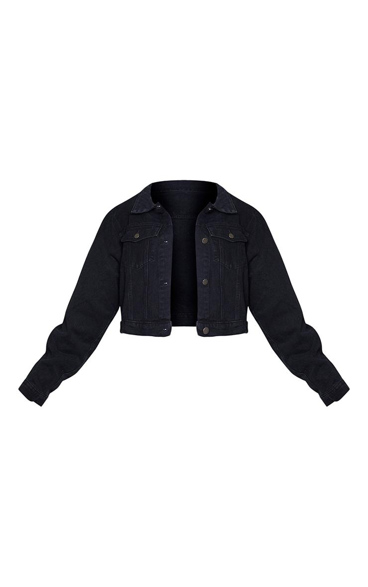 PRETTYLITTLETHING Plus Black Cropped Denim Jacket 5