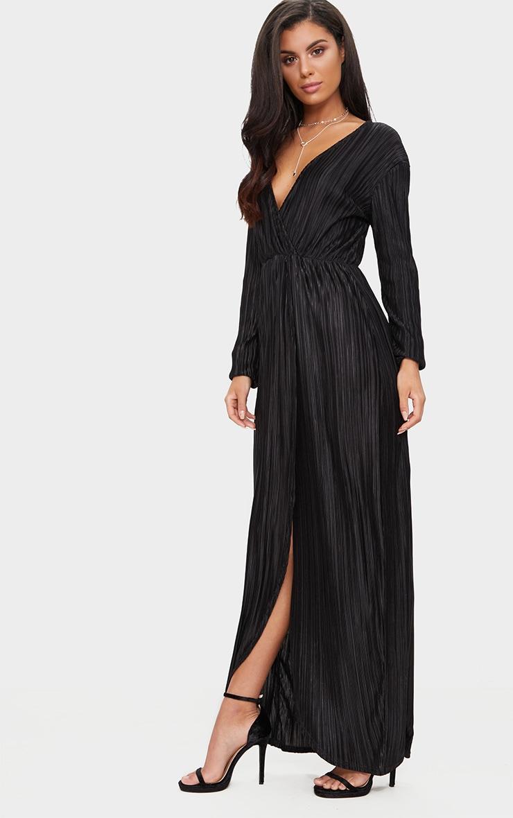 Black Pleated Wrap Front Long Sleeve Maxi Dress 4