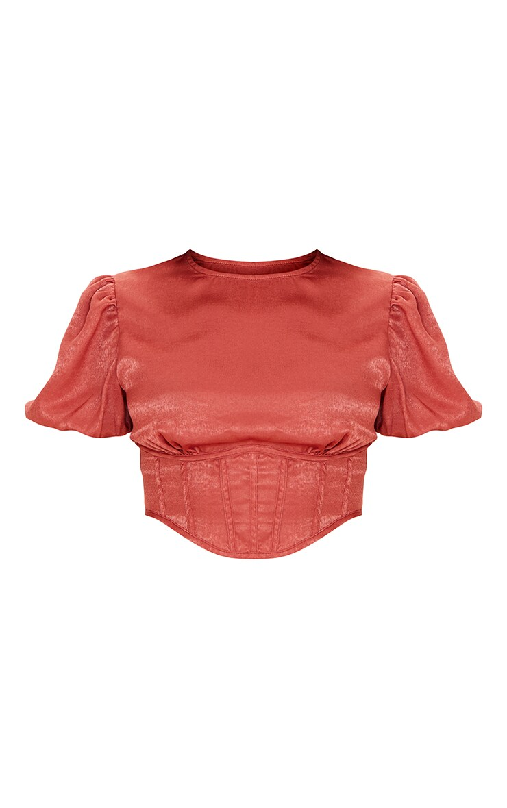 Petite Rust Satin Corset Detail Puff Sleeve Blouse 5