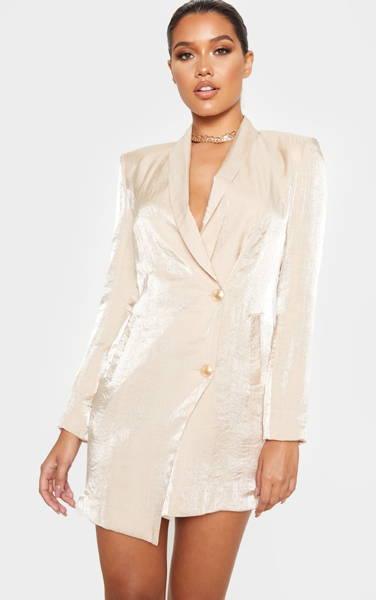 Champagne Pleated Shimmer Gold Button Blazer Dress 4