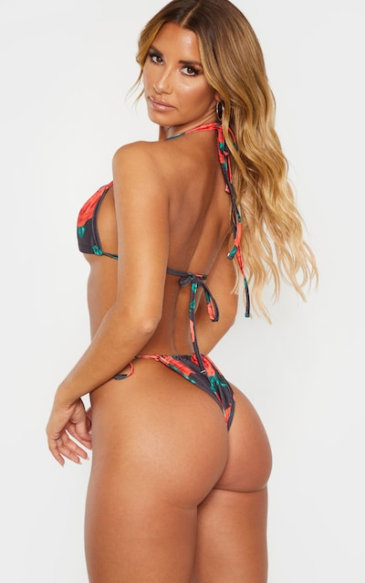 Rose Print Mini Ruched Tie Side Bikini Bottom