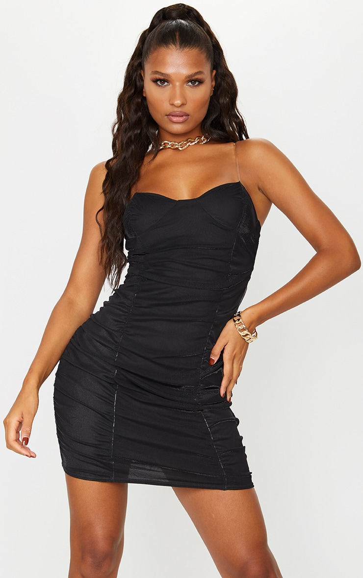 Black Mesh Ruched Cup Detail Clear Strap Bodycon Dress 1