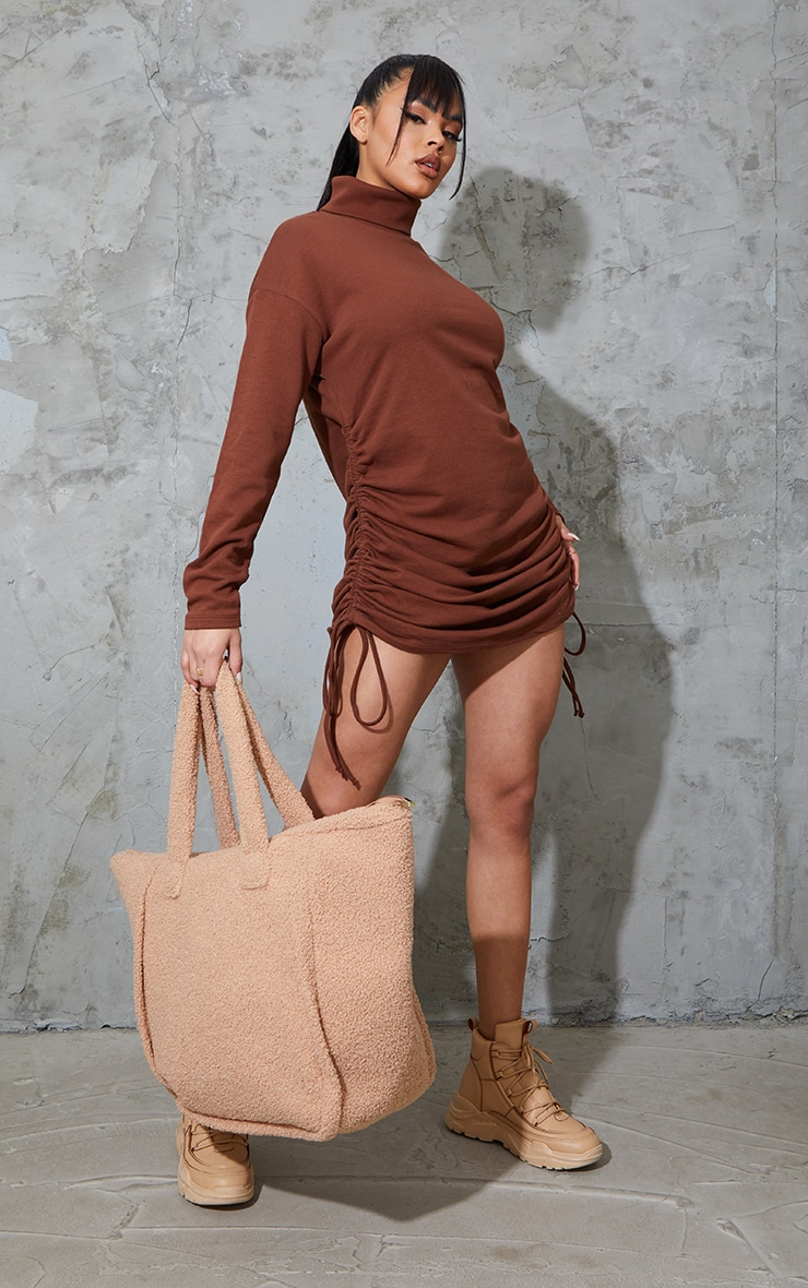 Chocolate Roll Neck Ruched Side Long Sleeve Bodycon Sweat Dress 3