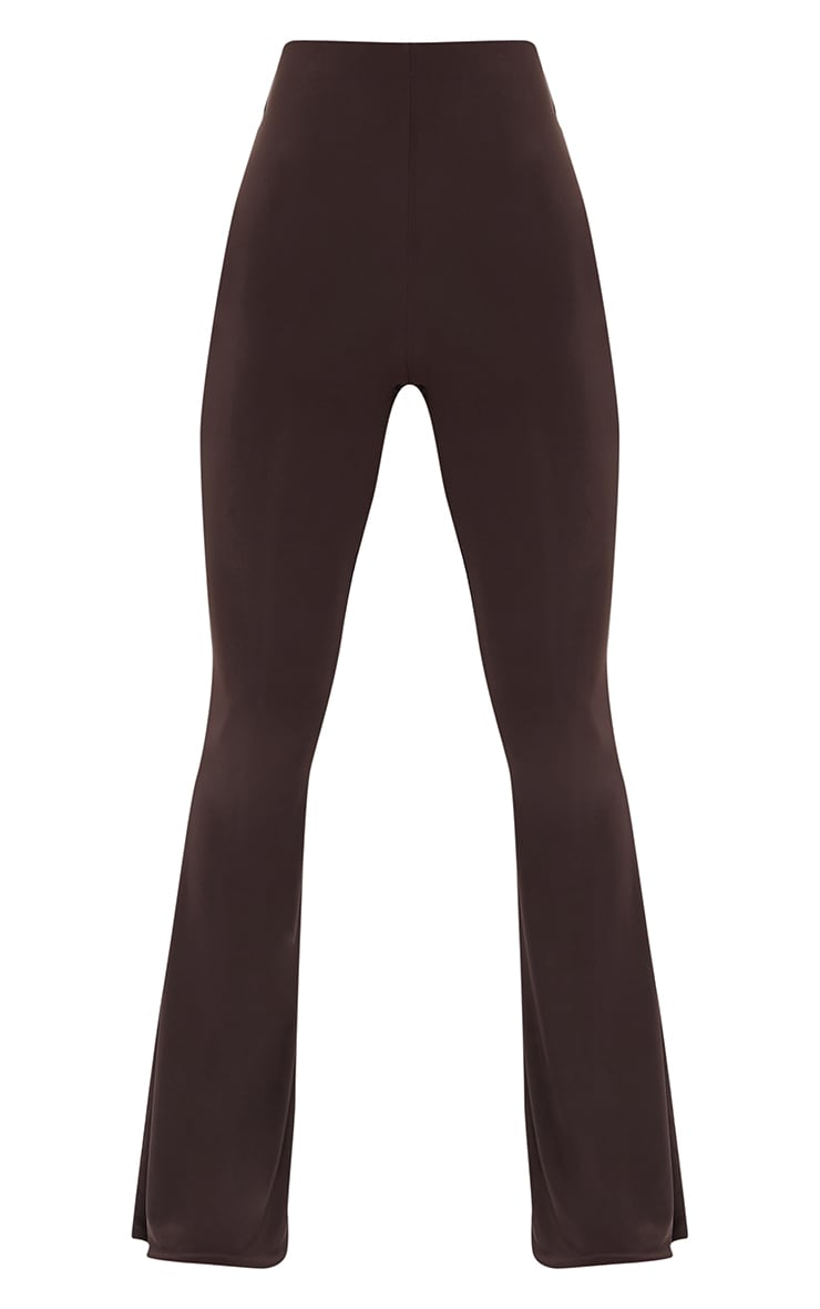 Petite Chocolate Flare Ruched Bum Slinky Pants 5