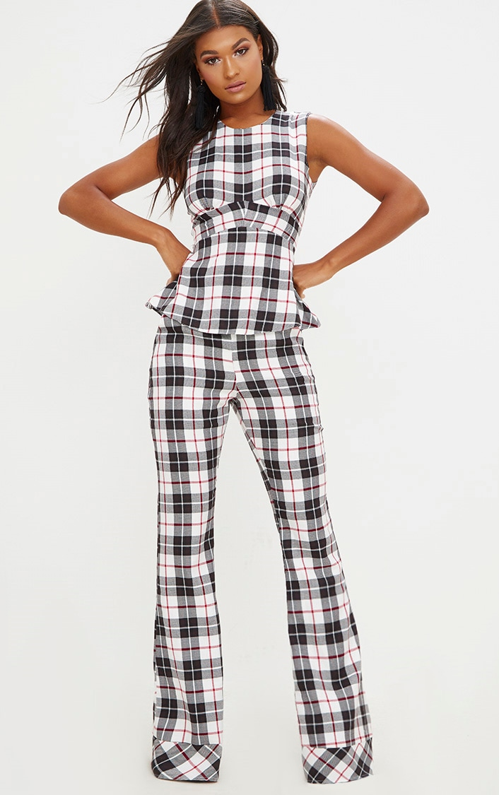 White Tartan Check Flare Trousers 1