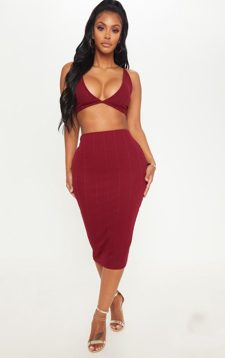 Shape Burgundy Bandage Midi Skirt 1