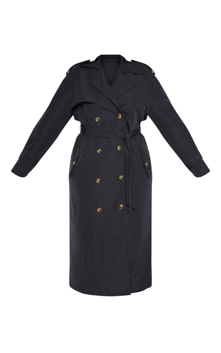 Plus Black Oversized Button Down Trench Coat 3