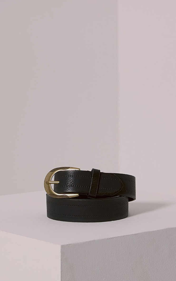 Helene Black Wide Leather Belt 1