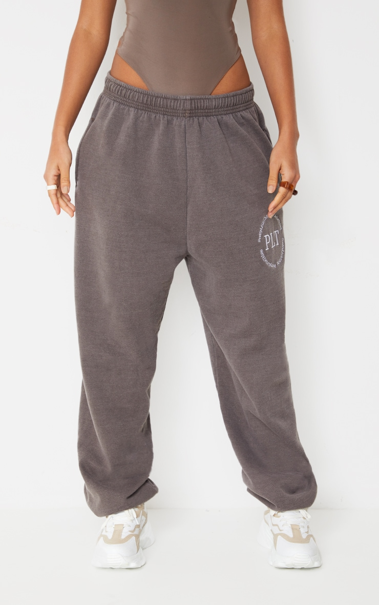 Brown Washed Health Club Embroidered Casual Joggers 2