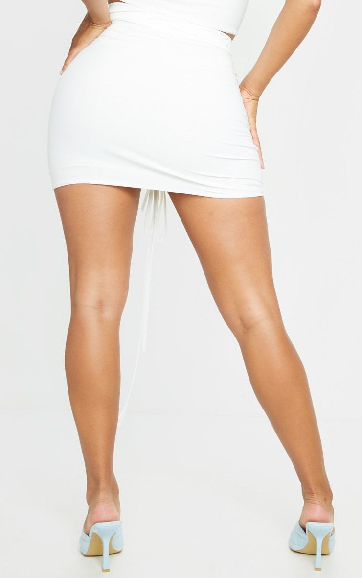 Shape White Slinky Ruched Front Bodycon Skirt 3