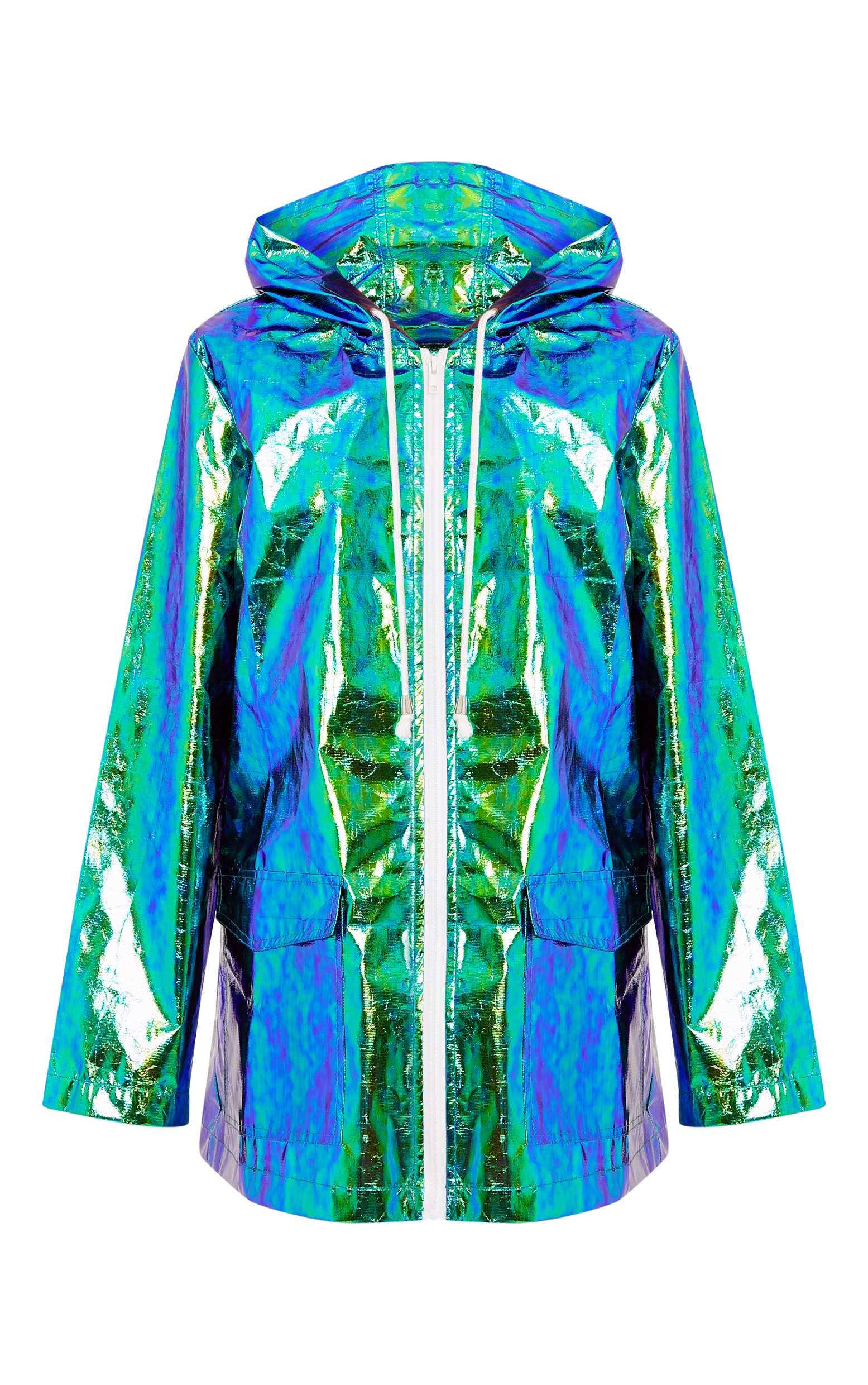 Cobie Green Holographic Rain Mac 3