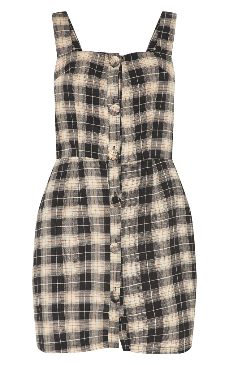 Grey Check Covered Button Pinafore Shift Dress 3
