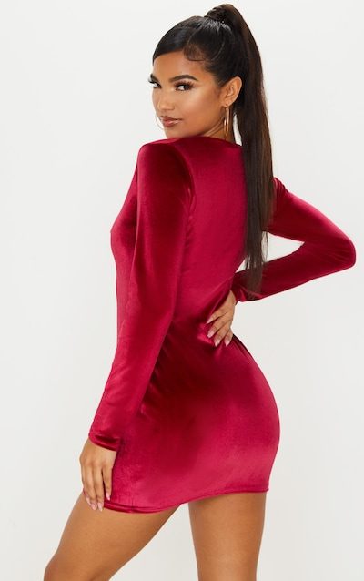 Burgundy Velvet Long Sleeve Bodycon Dress