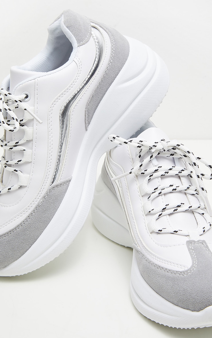 White Contrast Lace Chunky Hiker Trainer 4