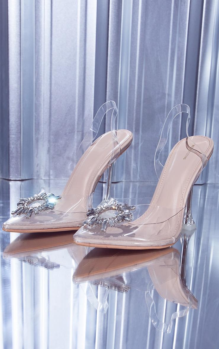 Nude Clear Diamante Sling Back High Heels
