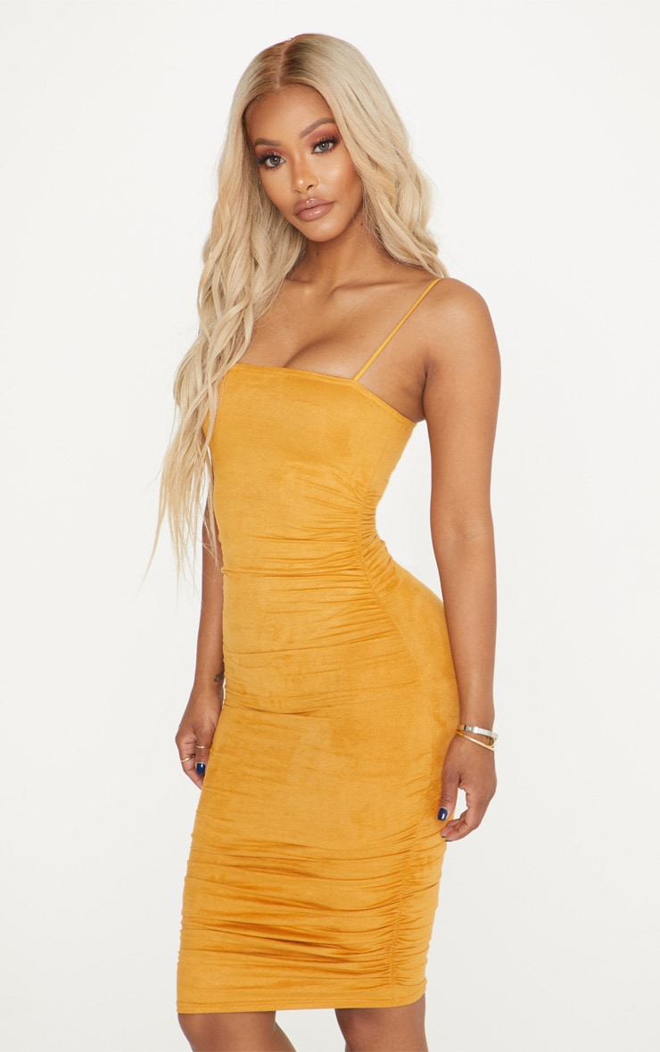 Shape Mustard Faux Suede Ruched Midi Dress 4