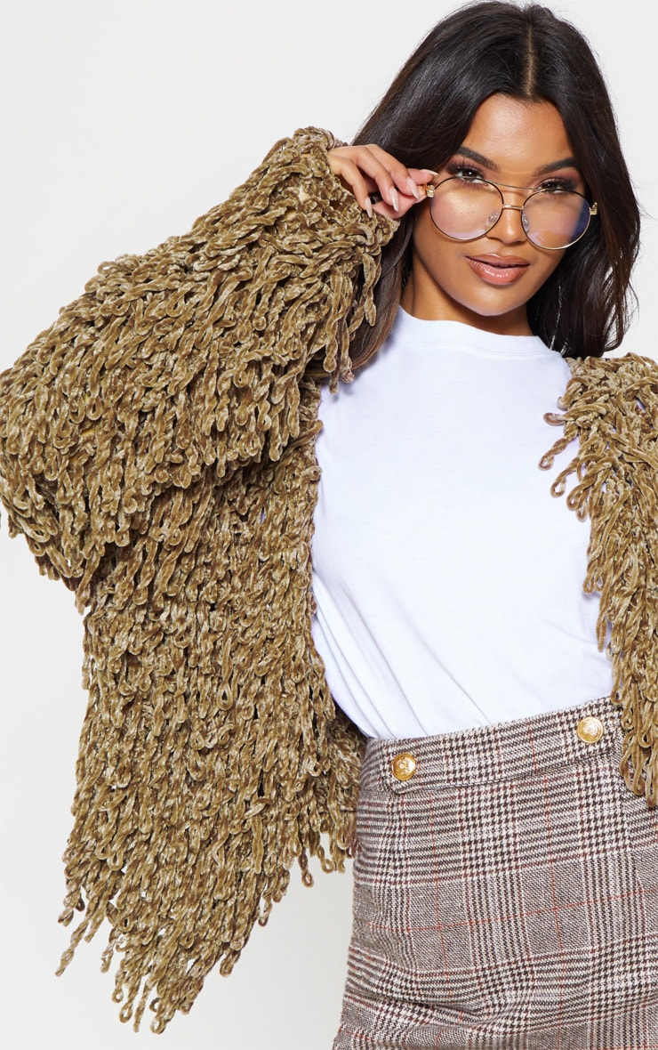 Taupe Chenille Shaggy Knitted Cardigan 5