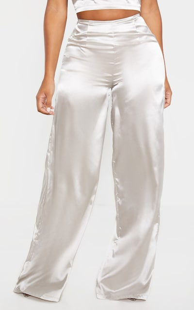 Shape Silver Satin Seam Detail Wide Leg Trouser