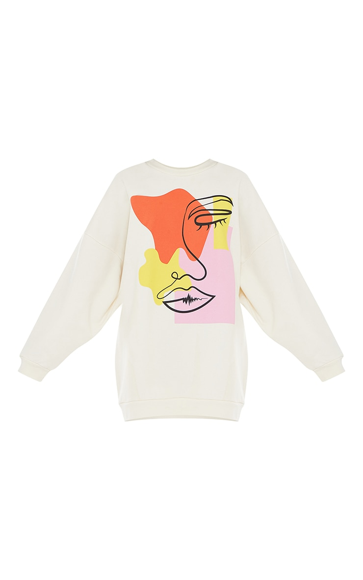 Cream Contrast Block Face Illustration Sweatshirt Dress 5