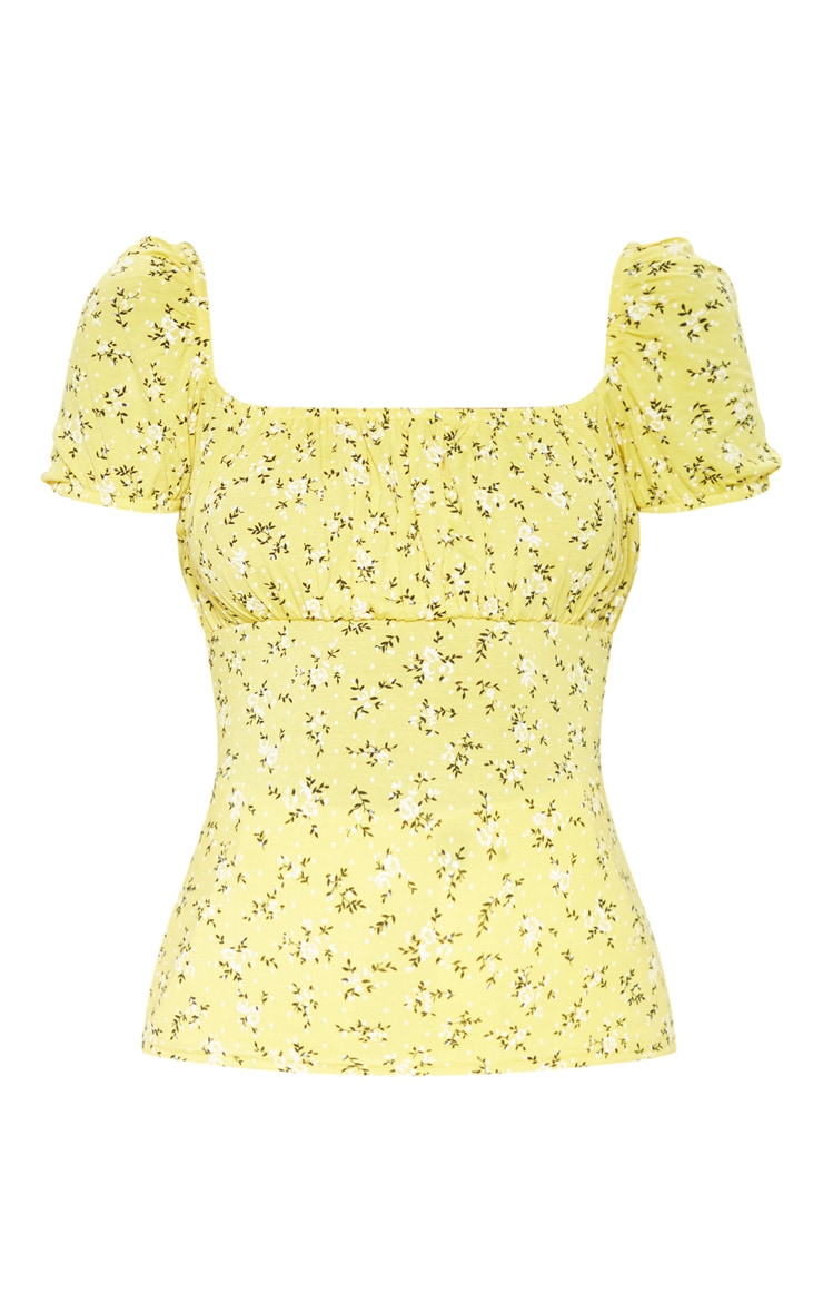 Yellow Floral Printed Short Sleeve Top 3