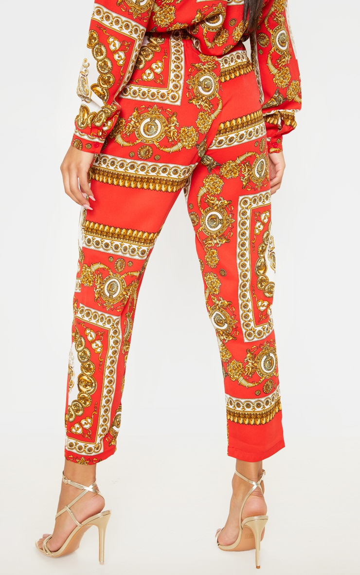 Red Scarf Print Cigarette Pants 4