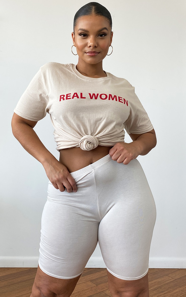 Plus Stone Real Women Slogan T-Shirt 1