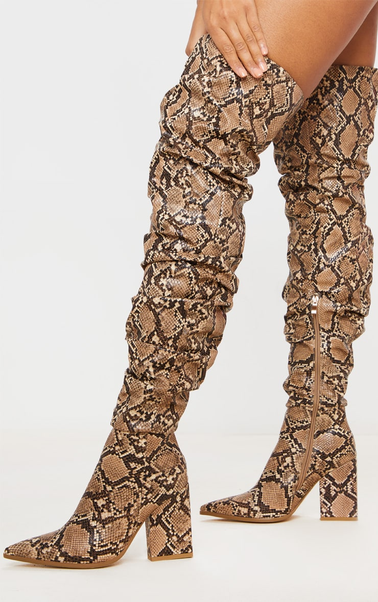 Brown Snake Ruched Thigh High Block Heel Boots 1