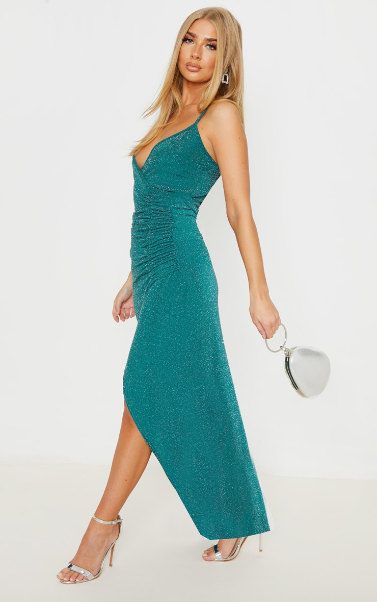 Emerald Green Strappy Textured Glitter Plunge Ruched Maxi Dress 4