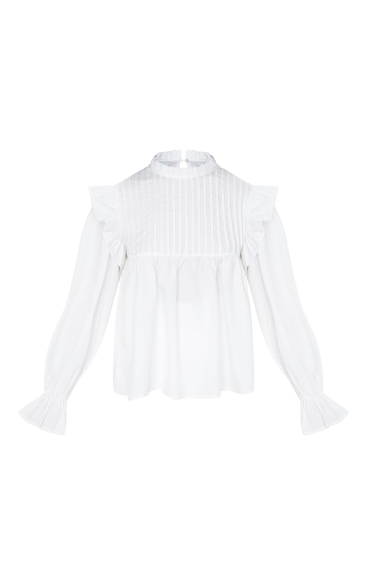 Petite Cream Frill Detail Long Sleeve Blouse 5