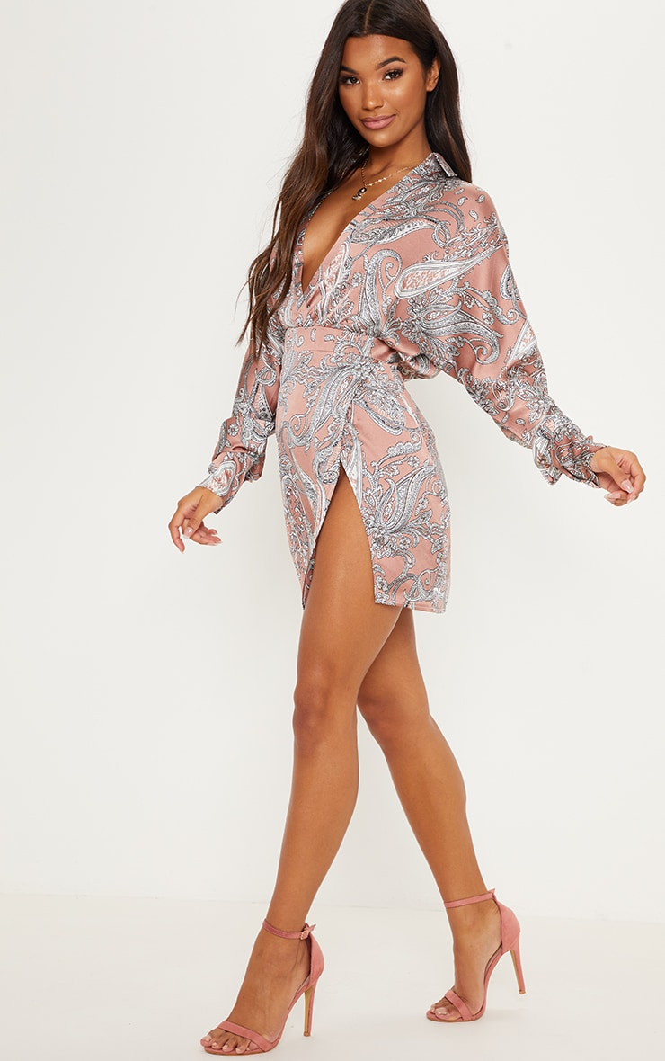 Dusty Pink Paisley Print Plunge Front Bodycon Dress 4