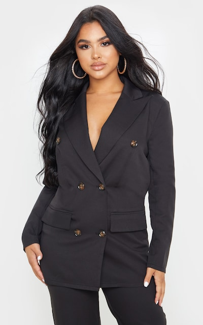 Petite Black Woven Oversized Longline Button Detail Blazer