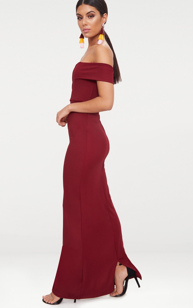 Burgundy Bardot V Plunge Maxi Dress 4