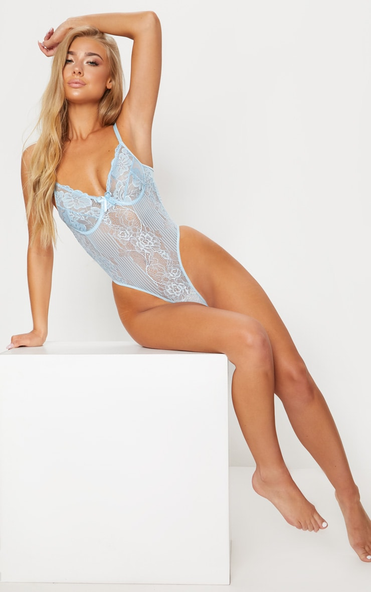 Powder Blue  High Leg Lace Insert Cupped Body 6