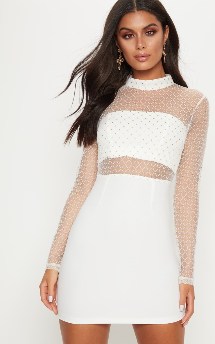 White Criss Cross Mesh Top Bodycon Dress 1
