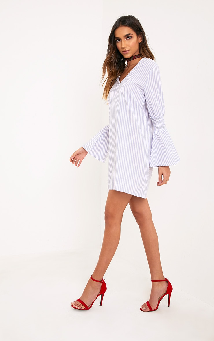 Frulina Blue Striped Flared Sleeve Shift Dress  4
