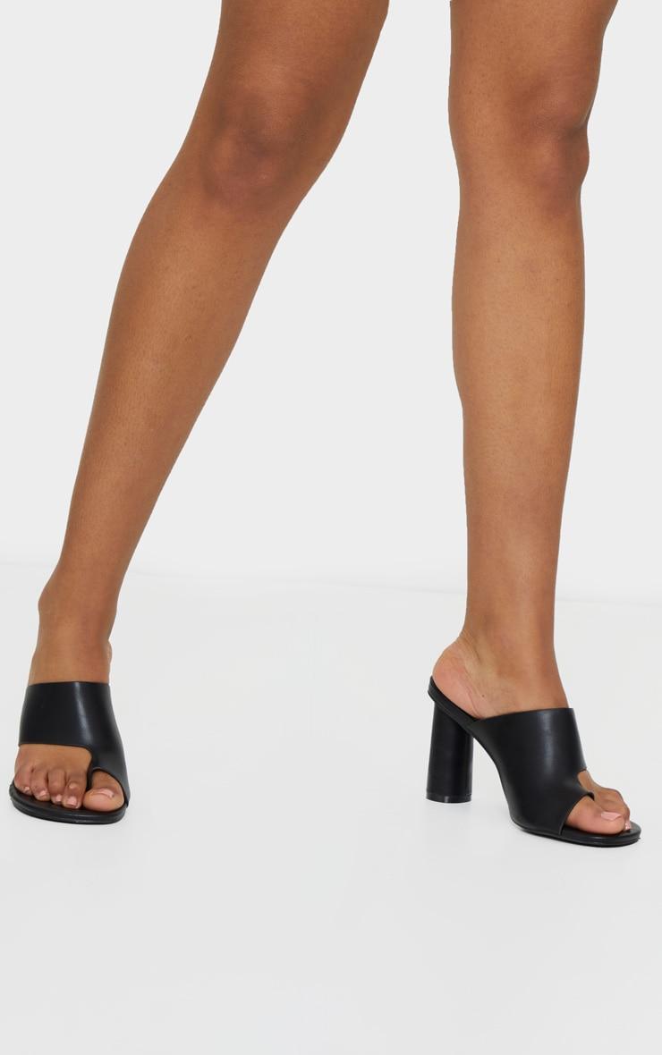 Black Cylinder Heel Single Toe Strap Mule 2