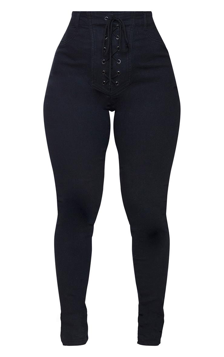 Shape - Jean skinny noir à laçage frontal 5