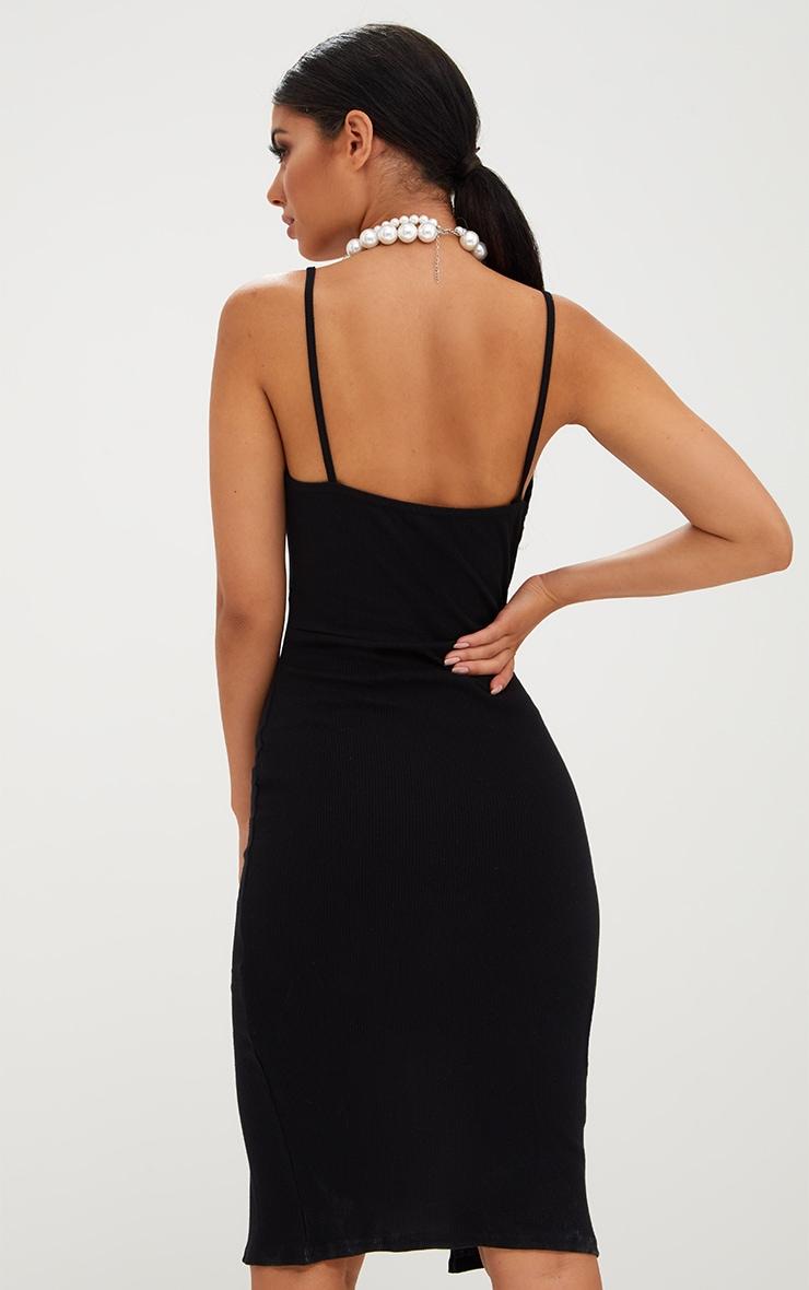 Black Ribbed Twist Front Midi Dress 2