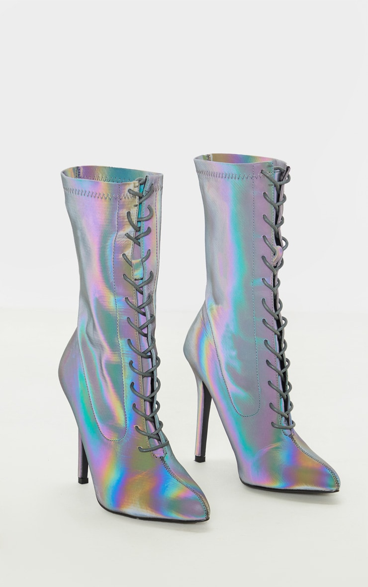Reflective Rainbow Lace Up Sock Boot 3
