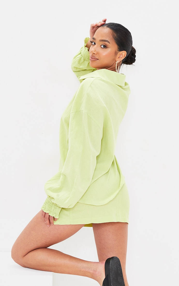 Petite Lime Oversized Shirred Cuff Linen Feel Shirt 2