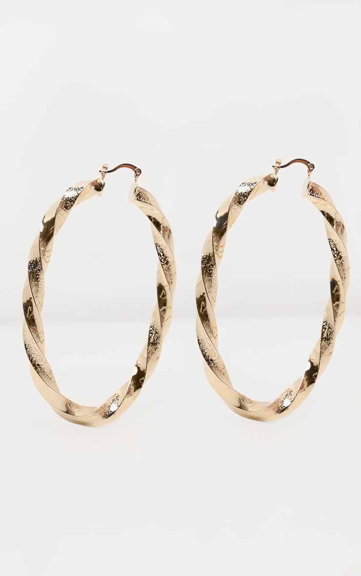 Gold Oval Shaped Twist Hoops 2