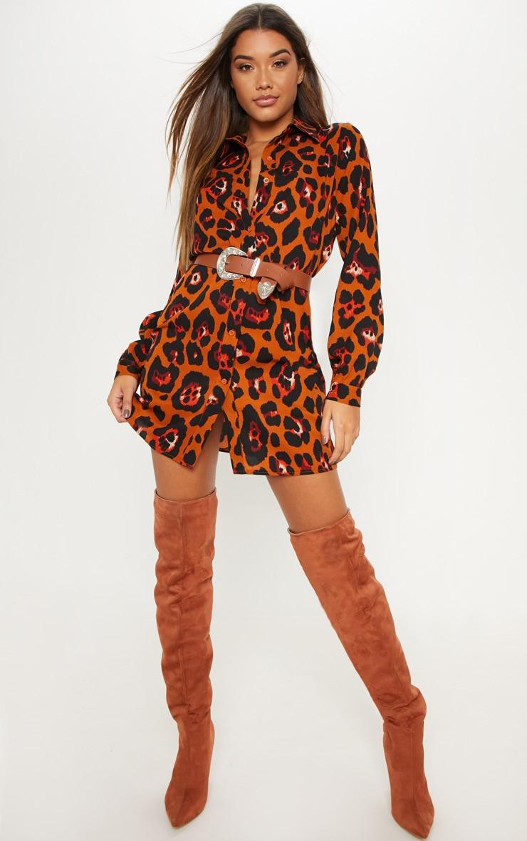 Burnt Orange Leopard Printed Shirt Dress 1