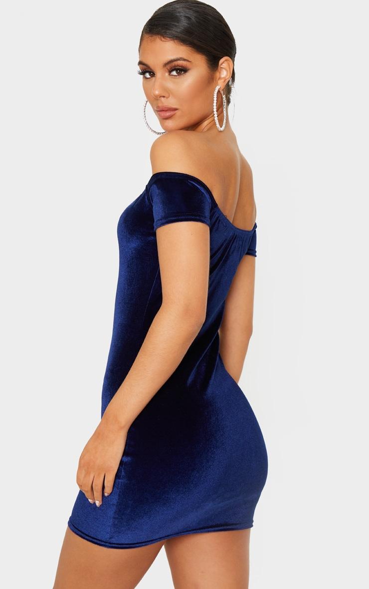 Navy Velvet Bardot Short Sleeve Bodycon Dress 2