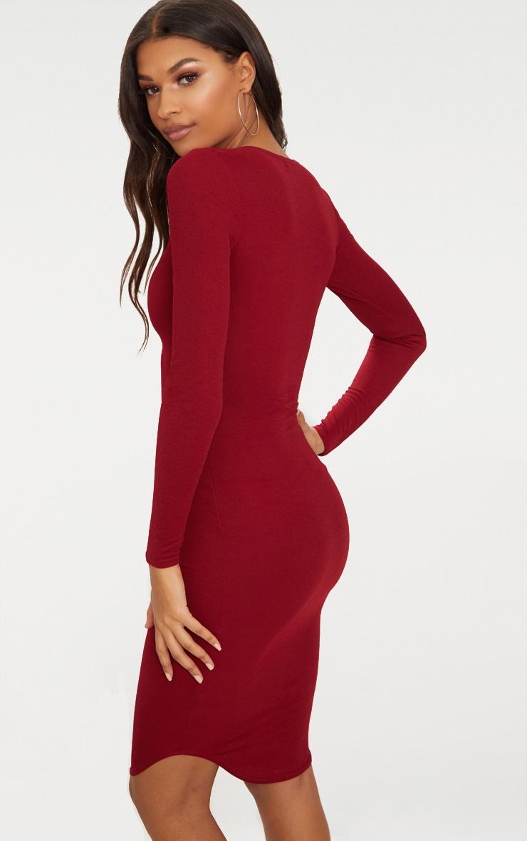 Burgundy Long Sleeve Curved Hem Midi Dress 2