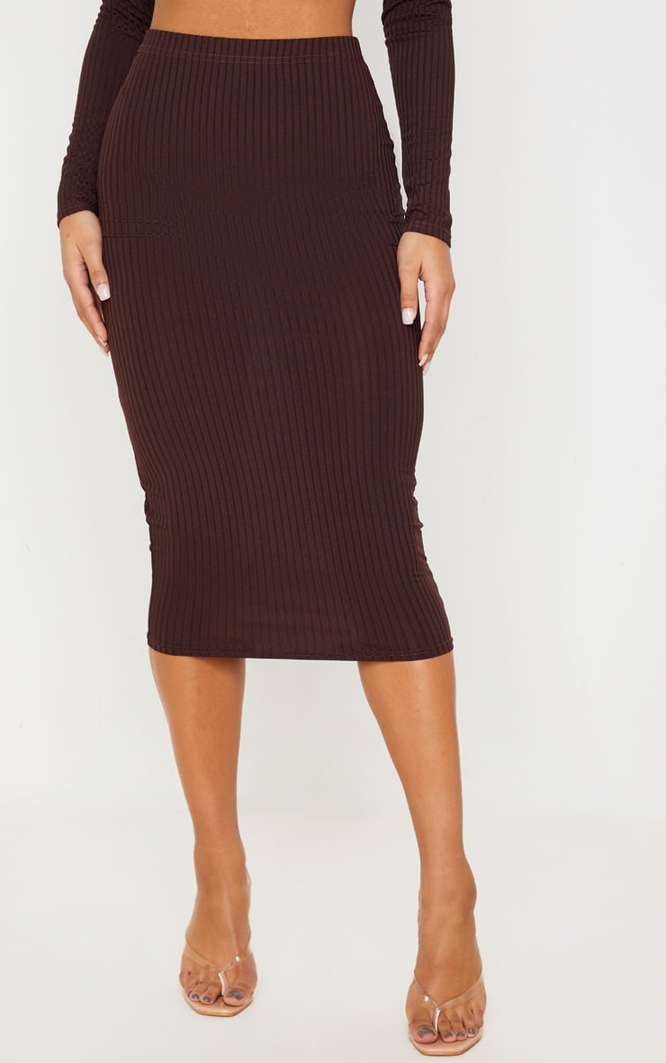 Brown Ribbed High Waist Midi Skirt 2